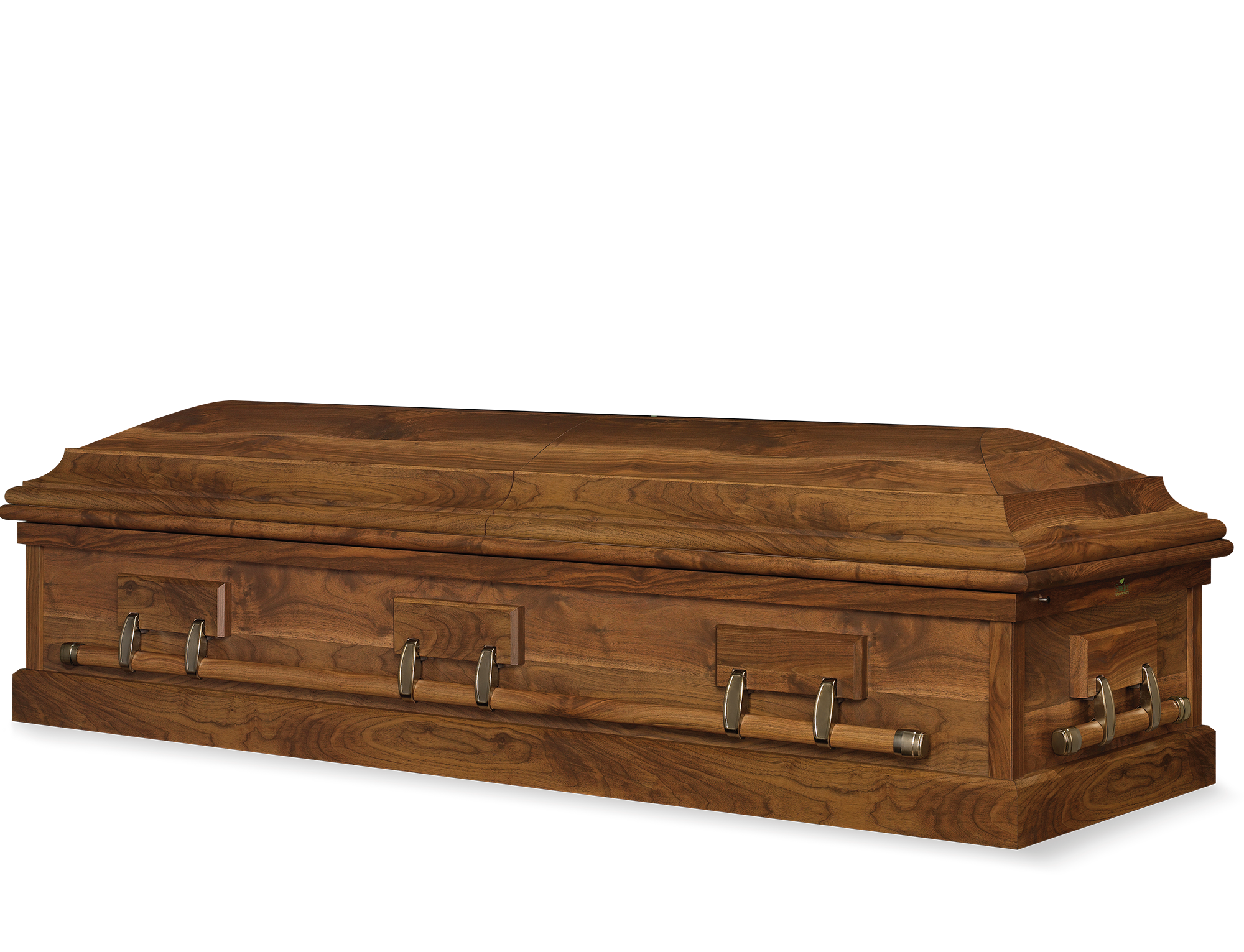 Wood Casket Grand Walnut Perfection Couch Champagne Velvet - Casket coffee table